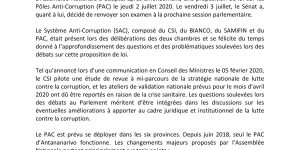 LOI POLE ANTI-CORRUPTION: Une question à approfondir