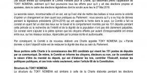 TOKY NOMENA: Communication publique sur l'existence du TOKY NOMENA dans le cadre des élections législatives.